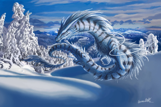Winter Dragon Background for Android, iPhone and iPad