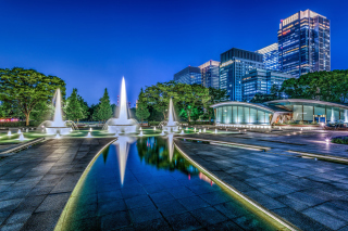 Wadakura Fountain Park in Tokyo Wallpaper for Android, iPhone and iPad