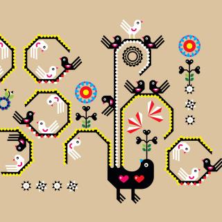 Embroidery and Pattern - Obrázkek zdarma pro 208x208