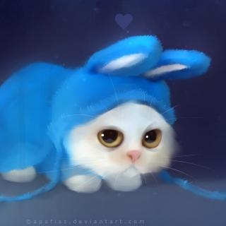 Cute Bunny Illustration - Obrázkek zdarma pro 2048x2048