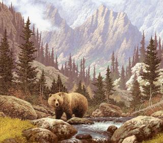 Bear At Mountain River - Obrázkek zdarma pro iPad
