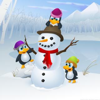 Snowman and Penguin - Obrázkek zdarma pro 208x208