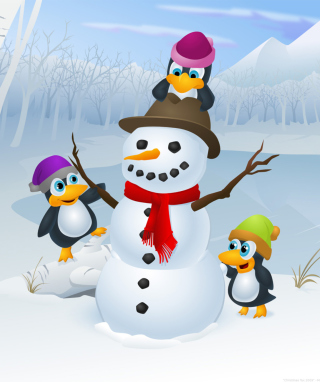 Snowman and Penguin - Obrázkek zdarma pro Nokia X1-01