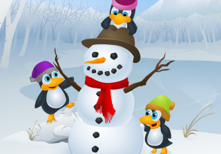 Snowman and Penguin - Obrázkek zdarma pro Samsung Galaxy Q