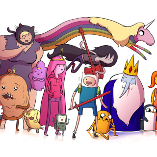 Adventure time, finn the human, jake the dog, princess bubblegum, lady rainicorn, the ice king - Obrázkek zdarma pro 208x208