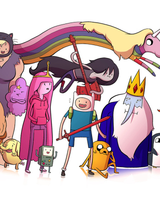 Adventure time, finn the human, jake the dog, princess bubblegum, lady rainicorn, the ice king - Obrázkek zdarma pro Nokia Asha 310