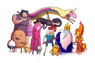 Adventure time, finn the human, jake the dog, princess bubblegum, lady rainicorn, the ice king - Obrázkek zdarma pro Nokia Asha 201
