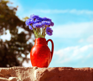 Blue Bouquet In Red Vase - Obrázkek zdarma pro iPad 2