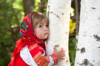 Little Russian Girl And Birch Tree Wallpaper for Android, iPhone and iPad