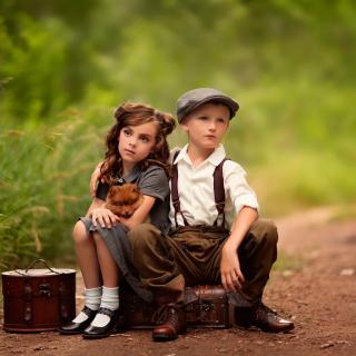 Kids with Puppy - Obrázkek zdarma pro 320x320