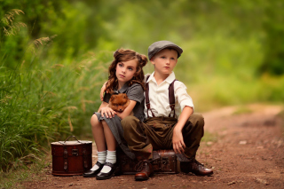Kids with Puppy - Obrázkek zdarma pro Samsung Galaxy Note 4