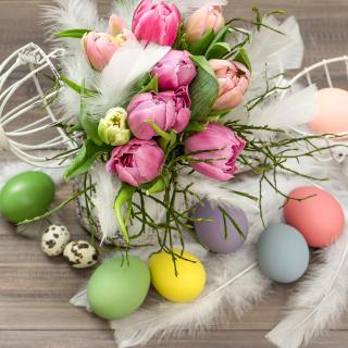 Tulips and Easter Eggs - Obrázkek zdarma pro iPad mini