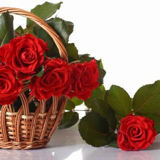Basket with Roses - Obrázkek zdarma pro 208x208