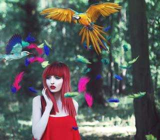 Girl, Birds And Feathers - Obrázkek zdarma pro iPad Air