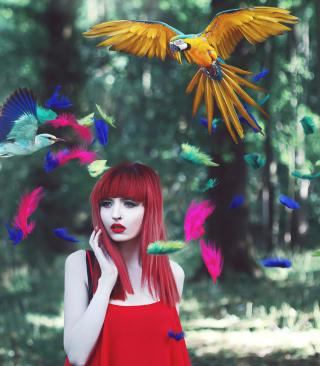 Girl, Birds And Feathers - Obrázkek zdarma pro Nokia Asha 309