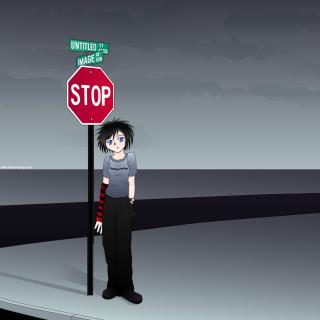 Stop Sign and Crossroad - Obrázkek zdarma pro iPad mini