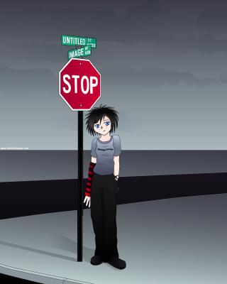 Stop Sign and Crossroad - Obrázkek zdarma pro 320x480