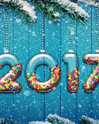 Happy New Year 2017 on Snowfall Texture - Obrázkek zdarma pro iPhone 5C