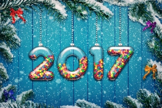 Happy New Year 2017 on Snowfall Texture Background for Android, iPhone and iPad