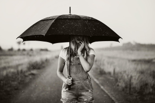 Girl Under Umbrella Background for Android, iPhone and iPad