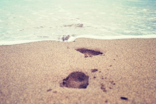 Footsteps In Sand Background for Android, iPhone and iPad