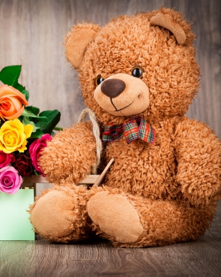 Valentines Day Teddy Bear with Gift - Obrázkek zdarma pro iPhone 6 Plus
