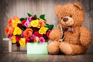 Valentines Day Teddy Bear with Gift Wallpaper for Android, iPhone and iPad