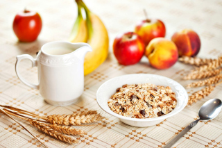 Breakfast with bananas and oatmeal Background for Android, iPhone and iPad