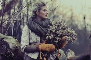 Girl With Winter Flowers Bouquet Wallpaper for Android, iPhone and iPad