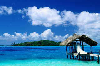 Thatched Hut, Bora Bora, French Polynesia Picture for Android, iPhone and iPad