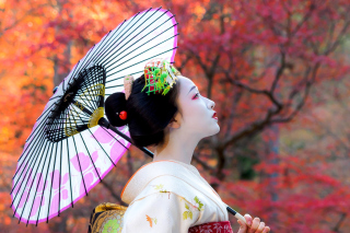 Japanese Girl with Umbrella - Obrázkek zdarma pro Widescreen Desktop PC 1920x1080 Full HD