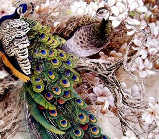 Peacock Painting - Obrázkek zdarma pro iPad mini
