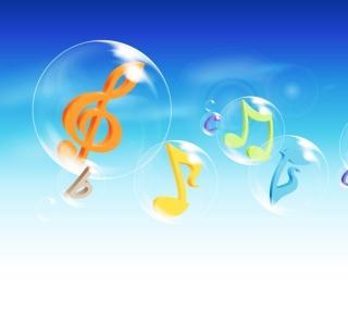 Musical Notes In Bubbles - Obrázkek zdarma pro 1024x1024