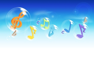 Musical Notes In Bubbles - Obrázkek zdarma pro Widescreen Desktop PC 1280x800