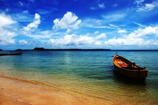 Boat On Sea Shore Background for Android, iPhone and iPad