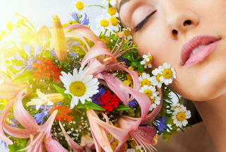Bouquet And Girl Wallpaper for Android, iPhone and iPad