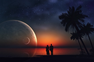 Night Romance At Beach Background for Android, iPhone and iPad