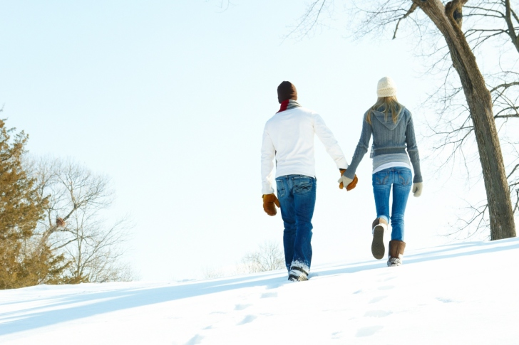 Romantic Walk Through The Snow wallpaper