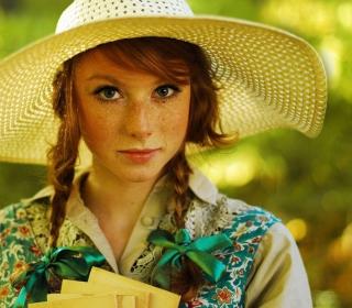 Romantic Girl In Straw Hat - Obrázkek zdarma pro 208x208