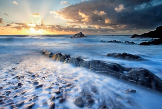 Amazing Oceanscape And Golden Clouds Picture for Android, iPhone and iPad