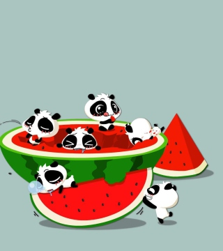 Panda And Watermelon - Obrázkek zdarma pro iPad