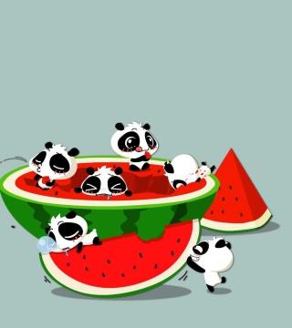 Panda And Watermelon - Obrázkek zdarma pro 2048x2048