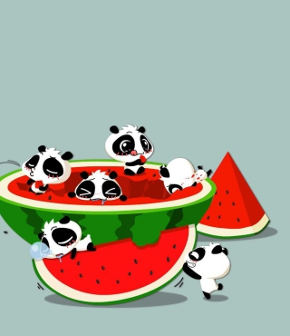 Panda And Watermelon - Obrázkek zdarma pro Nokia X7
