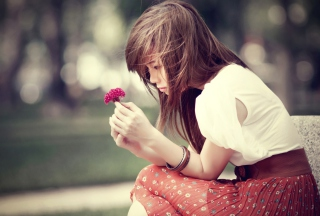 Girl And Purple Flower Background for Android, iPhone and iPad
