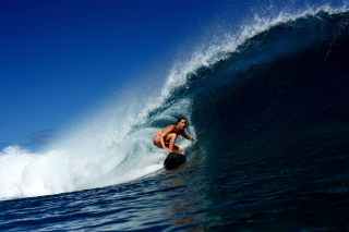 Big Wave Surfing Girl Wallpaper for Android, iPhone and iPad