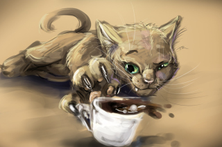 Sketch Of Funny Cat Wallpaper for Android, iPhone and iPad
