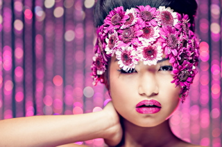 Asian Fashion Model With Pink Flower Wreath Background for Android, iPhone and iPad