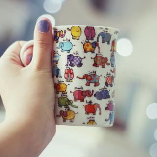 Funny Mug With Elephants - Obrázkek zdarma pro 208x208