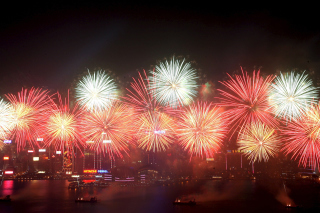 Fireworks In Hong Kong Background for Android, iPhone and iPad