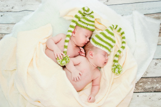 Cute Babies In Green Hats Sleeping Background for Android, iPhone and iPad